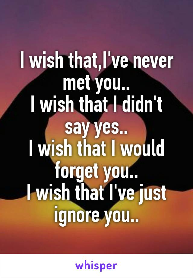 I wish that,I've never met you.. I wish that I didn't say yes.. I wish that I would forget you.. I wish that I've just ignore you..