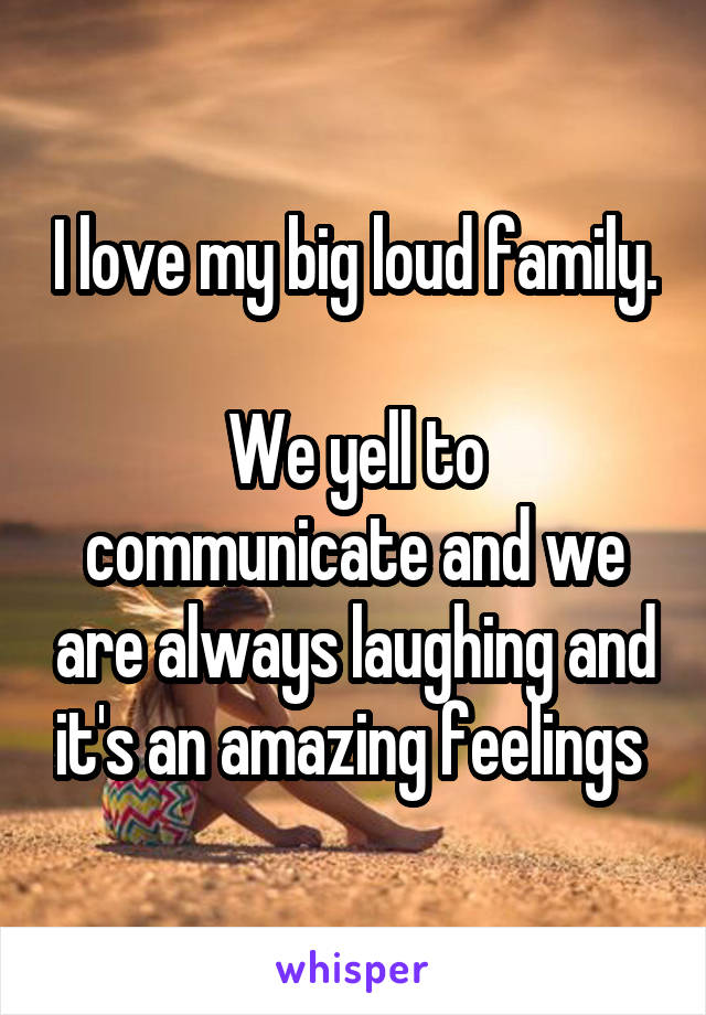 I love my big loud family.  We yell to communicate and we are always laughing and it's an amazing feelings