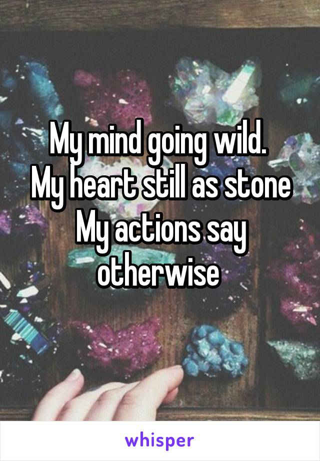 My mind going wild.  My heart still as stone My actions say otherwise