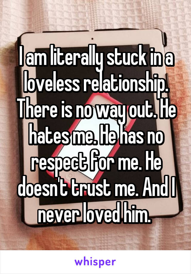 I am literally stuck in a loveless relationship. There is no way out. He hates me. He has no respect for me. He doesn't trust me. And I never loved him.