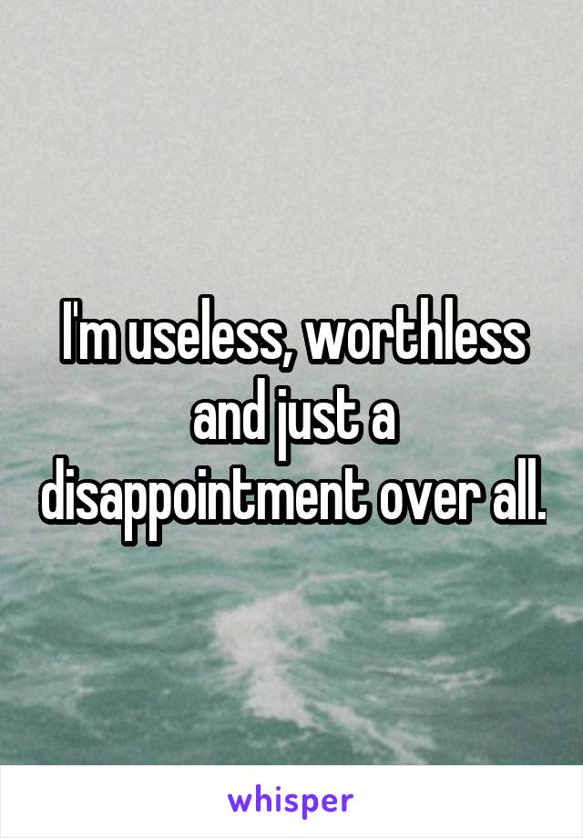 I'm useless, worthless and just a disappointment over all.