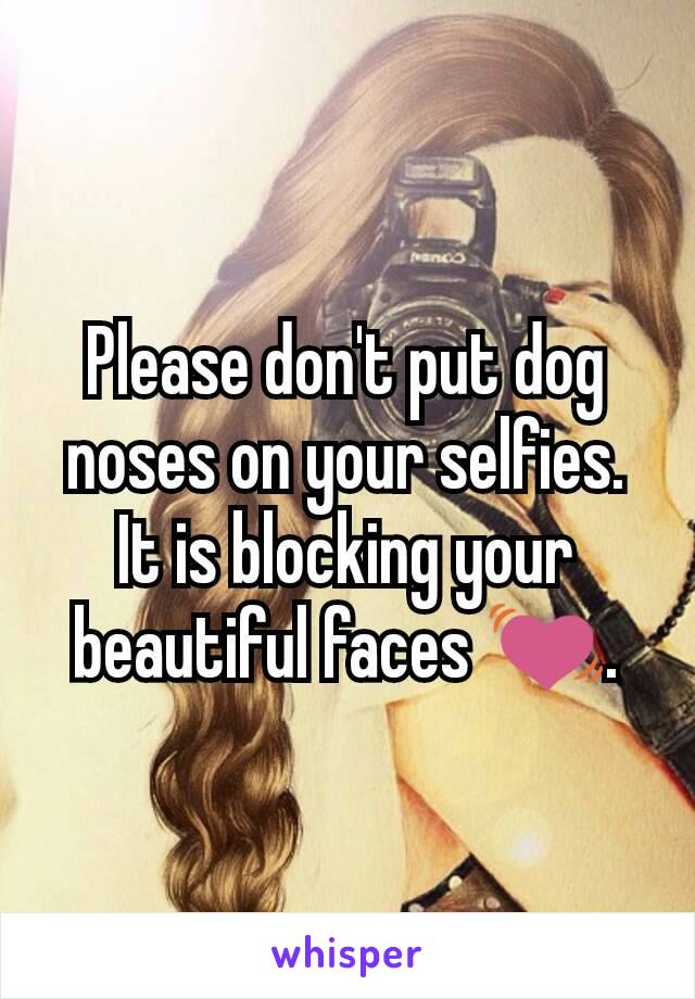 Please don't put dog noses on your selfies. It is blocking your beautiful faces 💓.