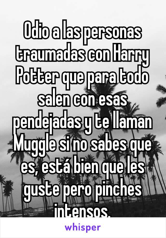 Odio a las personas traumadas con Harry Potter que para todo salen con esas pendejadas y te llaman Muggle si no sabes que es, está bien que les guste pero pinches intensos.
