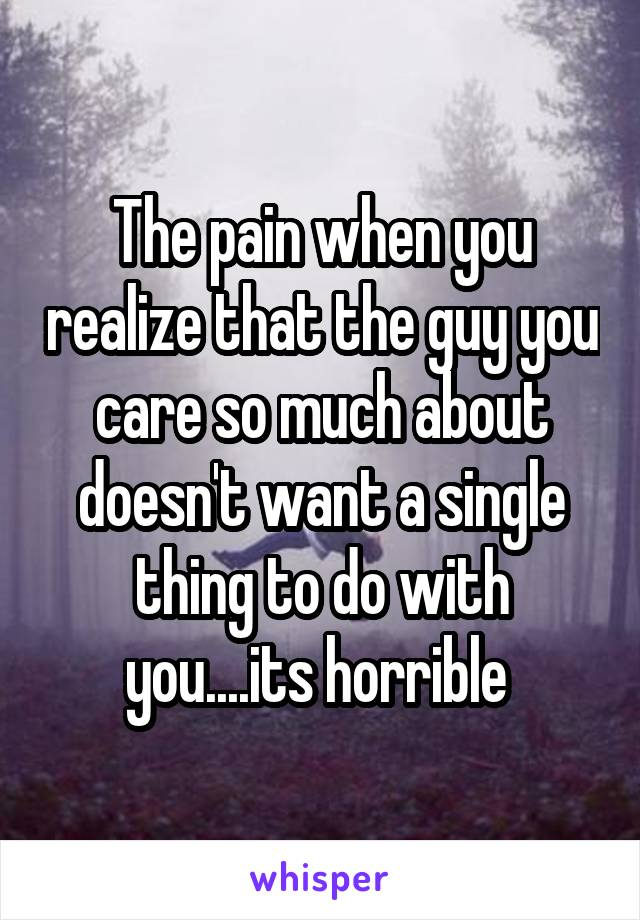 The pain when you realize that the guy you care so much about doesn't want a single thing to do with you....its horrible