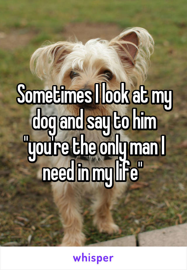 """Sometimes I look at my dog and say to him """"you're the only man I need in my life"""""""