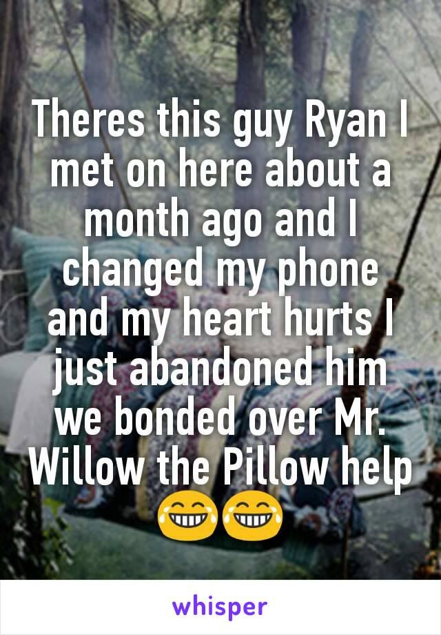Theres this guy Ryan I met on here about a month ago and I changed my phone and my heart hurts I just abandoned him we bonded over Mr. Willow the Pillow help 😂😂