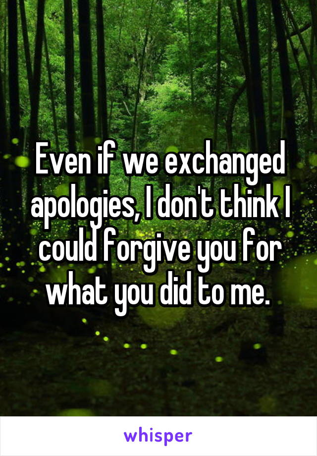 Even if we exchanged apologies, I don't think I could forgive you for what you did to me.