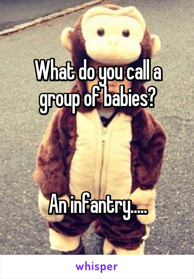 What do you call a group of babies?    An infantry.....