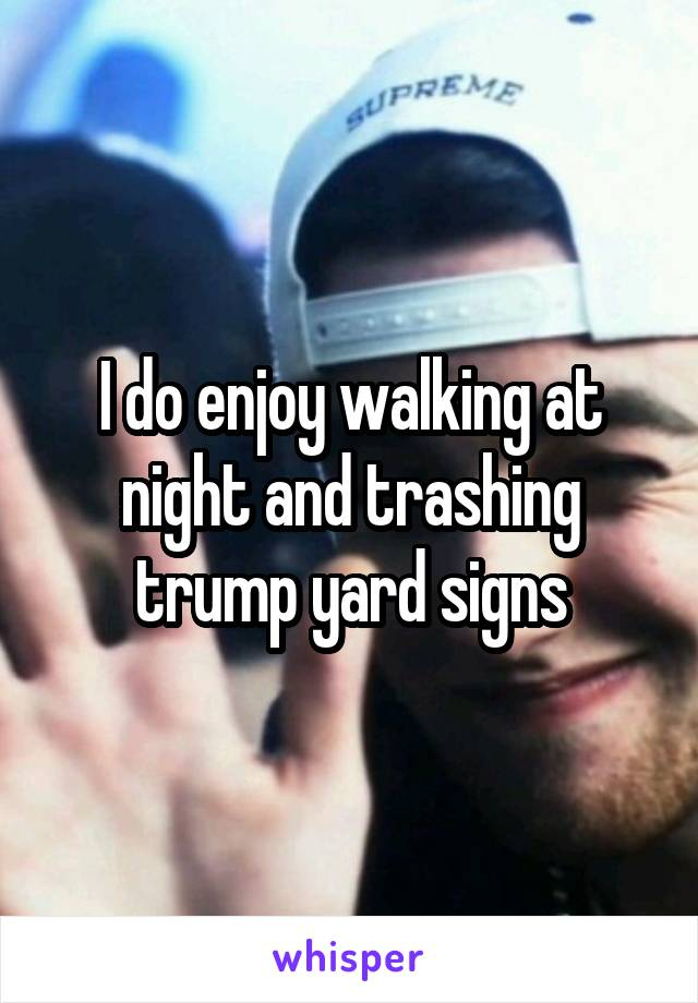 I do enjoy walking at night and trashing trump yard signs