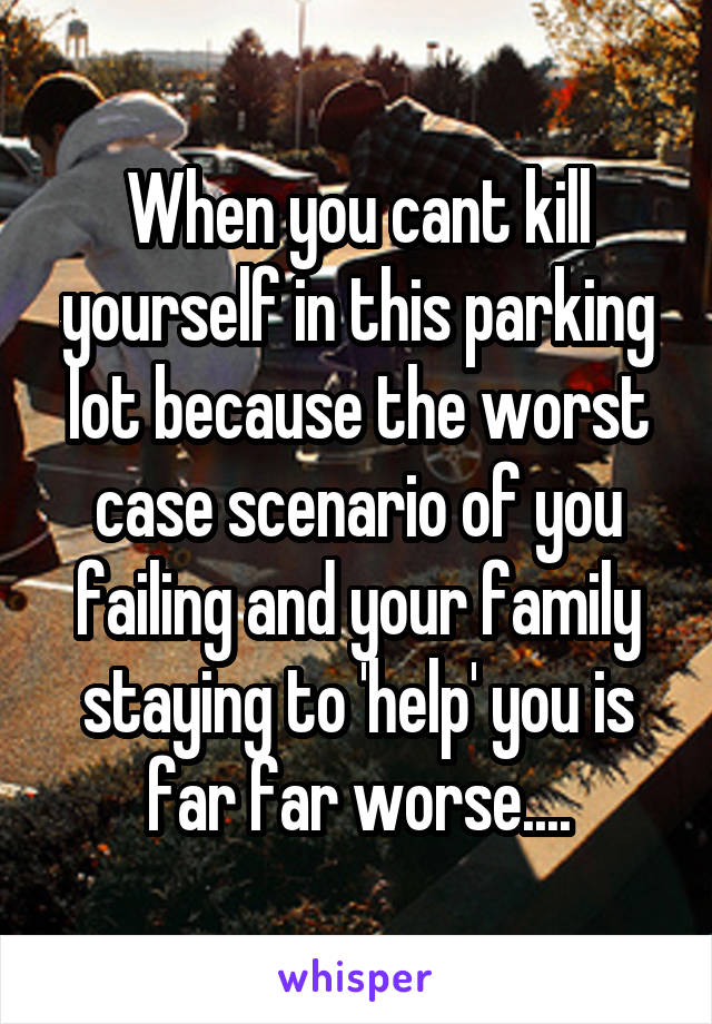 When you cant kill yourself in this parking lot because the worst case scenario of you failing and your family staying to 'help' you is far far worse....