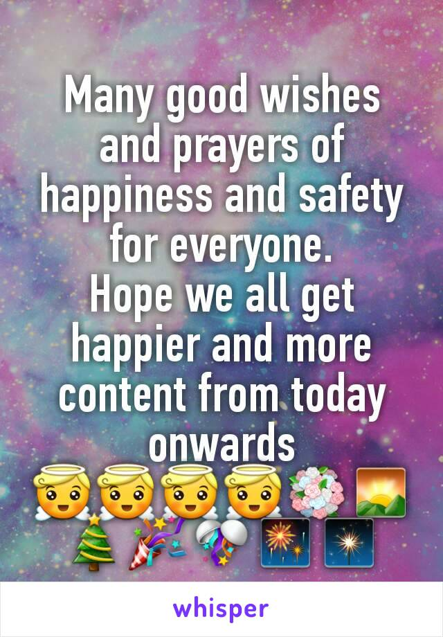 Many good wishes and prayers of happiness and safety for everyone. Hope we all get happier and more content from today onwards 😇😇😇😇💐🌄🎄🎉🎊🎆🎇