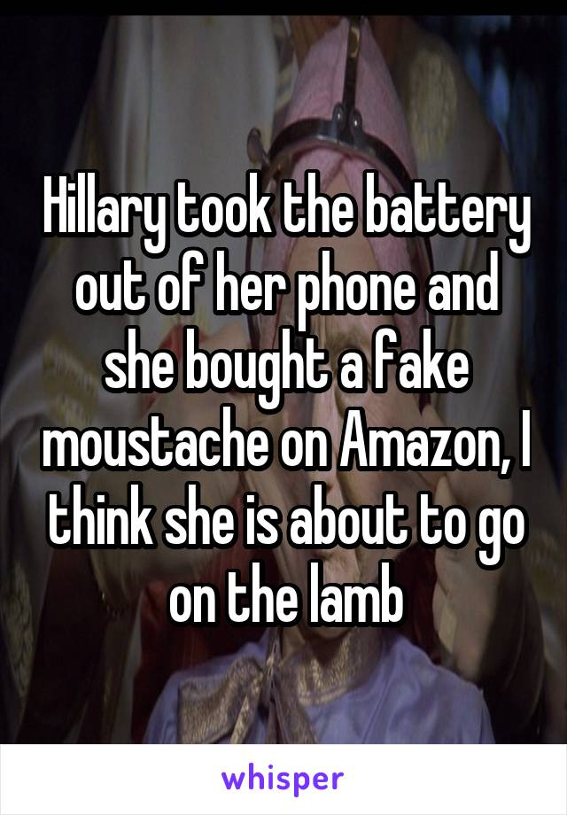 Hillary took the battery out of her phone and she bought a fake moustache on Amazon, I think she is about to go on the lamb