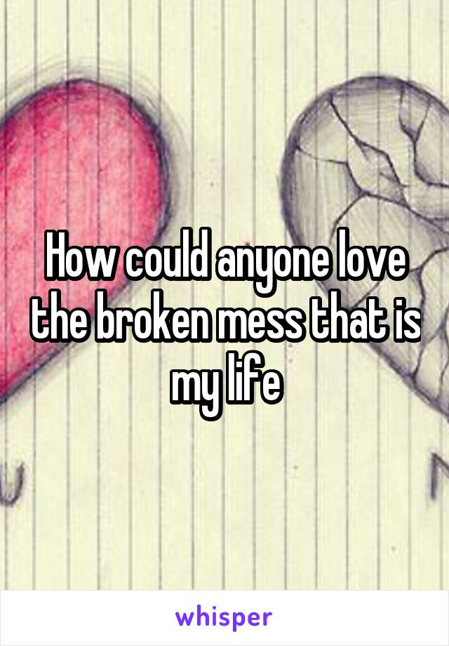 How could anyone love the broken mess that is my life