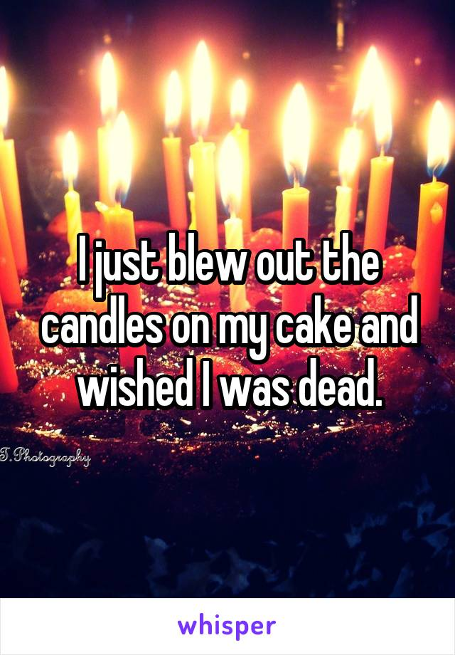 I just blew out the candles on my cake and wished I was dead.