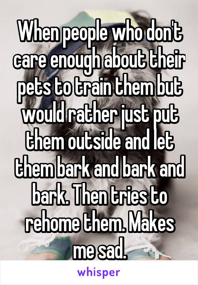 When people who don't care enough about their pets to train them but would rather just put them outside and let them bark and bark and bark. Then tries to rehome them. Makes me sad.