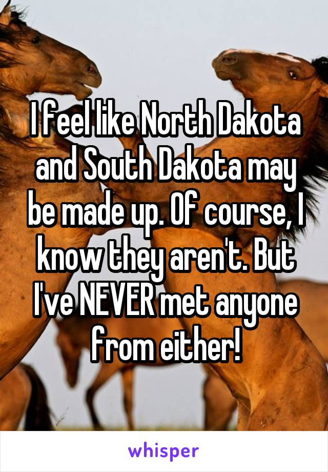 I feel like North Dakota and South Dakota may be made up. Of course, I know they aren't. But I've NEVER met anyone from either!