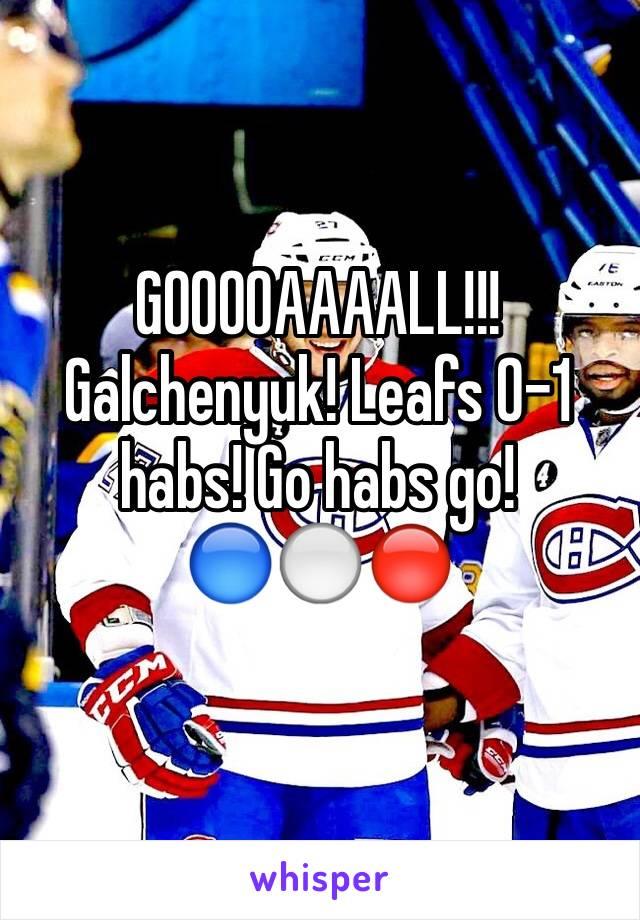GOOOOAAAALL!!! Galchenyuk! Leafs 0-1 habs! Go habs go! 🔵⚪️🔴
