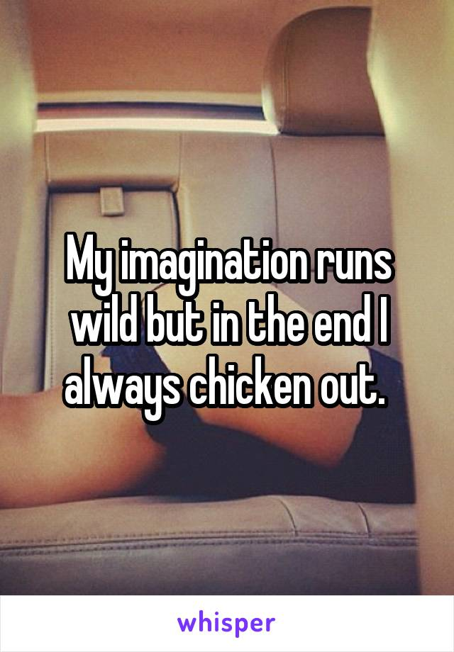 My imagination runs wild but in the end I always chicken out.
