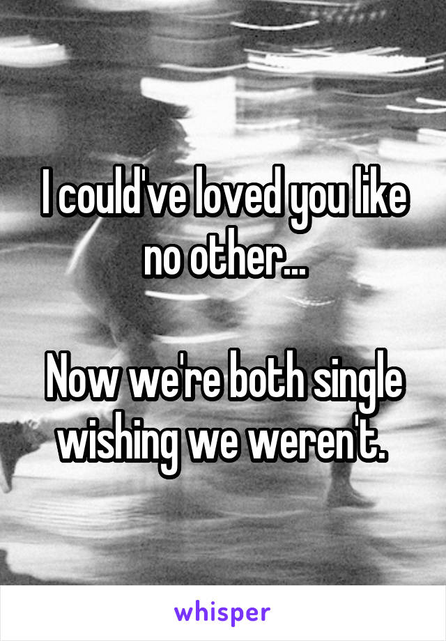 I could've loved you like no other...  Now we're both single wishing we weren't.