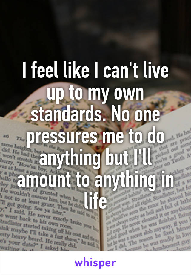 I feel like I can't live up to my own standards. No one pressures me to do anything but I'll amount to anything in life