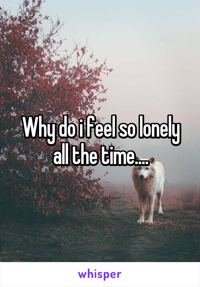 Why do i feel so lonely all the time....