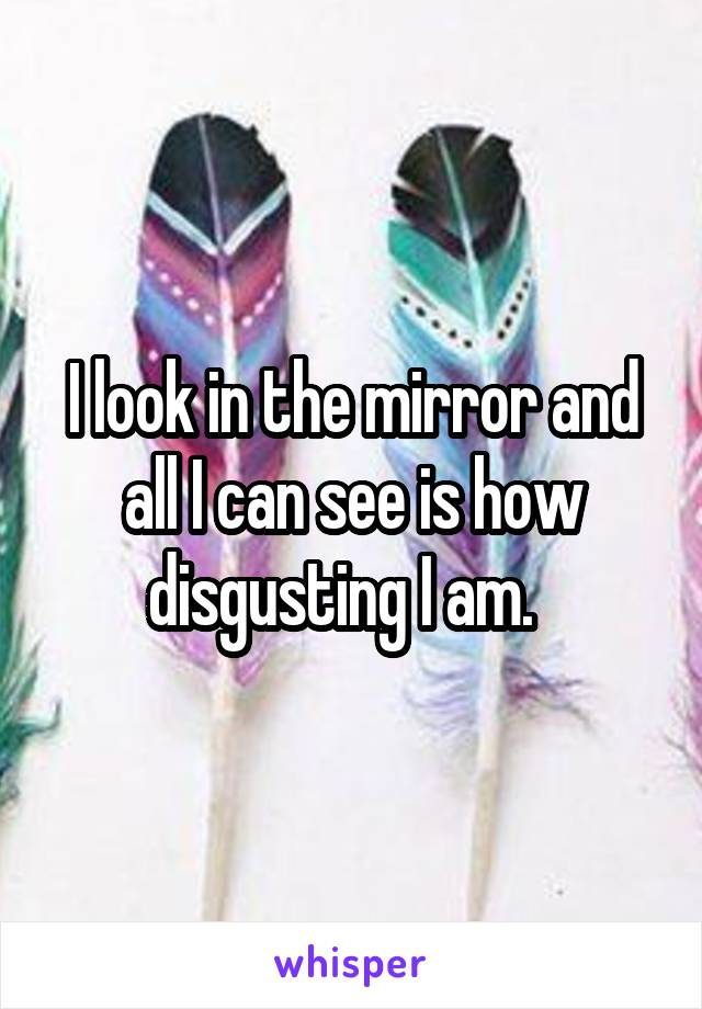 I look in the mirror and all I can see is how disgusting I am.