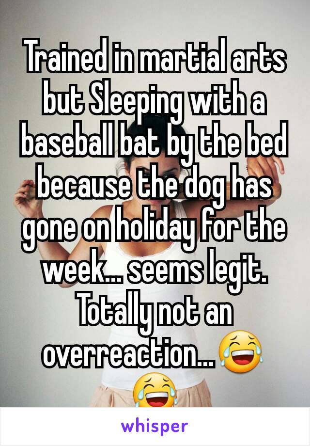 Trained in martial arts but Sleeping with a baseball bat by the bed because the dog has gone on holiday for the week... seems legit. Totally not an overreaction...😂😂