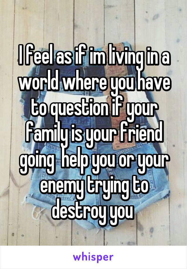 I feel as if im living in a world where you have to question if your family is your friend going  help you or your enemy trying to destroy you