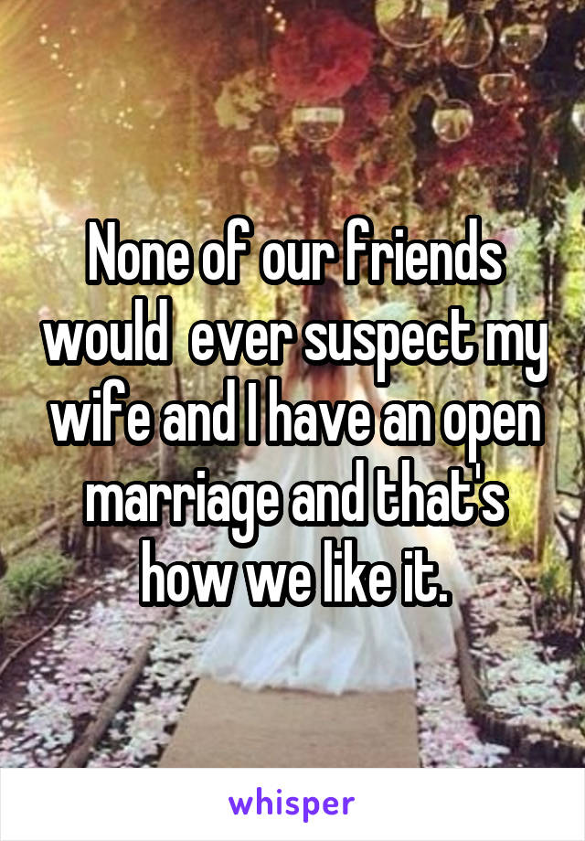 None of our friends would  ever suspect my wife and I have an open marriage and that's how we like it.