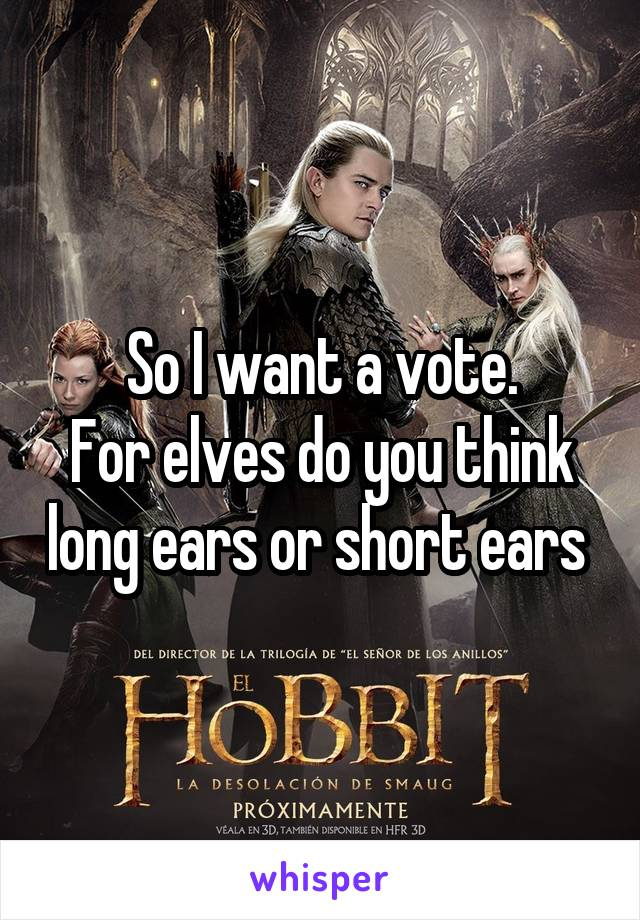 So I want a vote. For elves do you think long ears or short ears