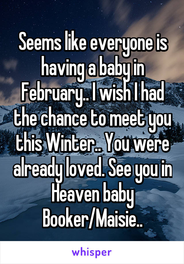 Seems like everyone is having a baby in February.. I wish I had the chance to meet you this Winter.. You were already loved. See you in Heaven baby Booker/Maisie..