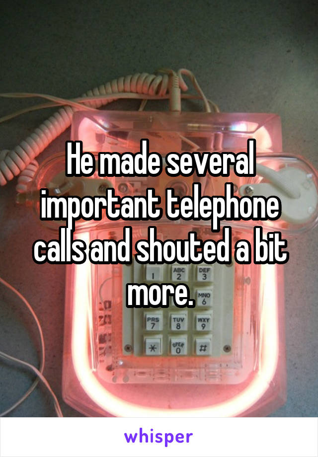 He made several important telephone calls and shouted a bit more.