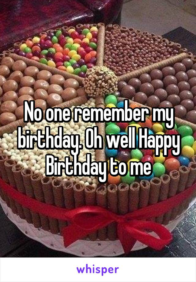 No one remember my birthday. Oh well Happy Birthday to me