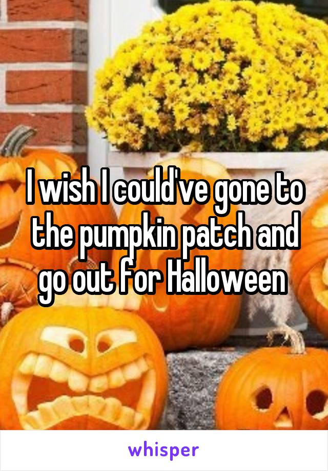 I wish I could've gone to the pumpkin patch and go out for Halloween