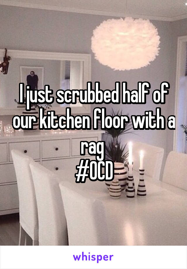 I just scrubbed half of our kitchen floor with a rag  #OCD