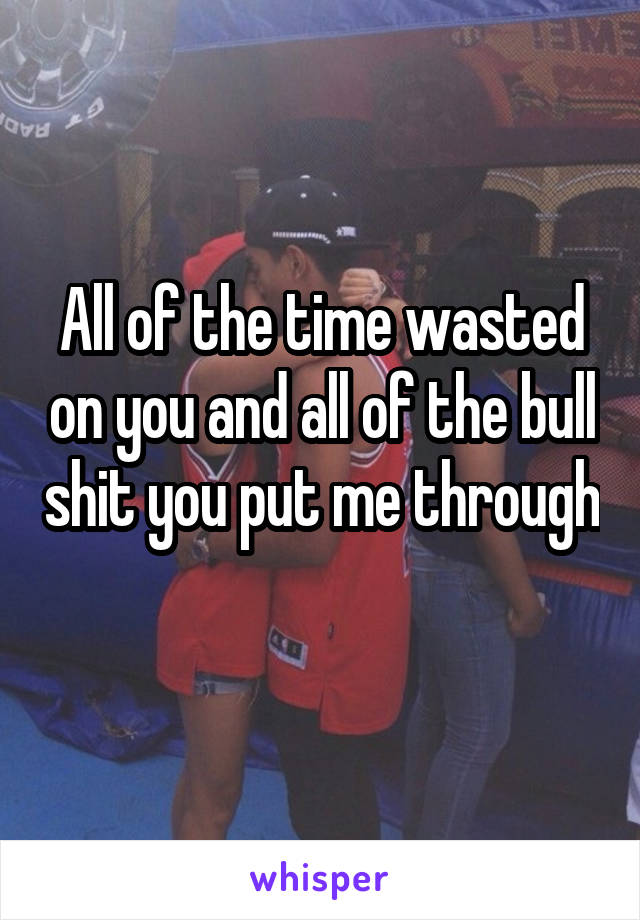 All of the time wasted on you and all of the bull shit you put me through