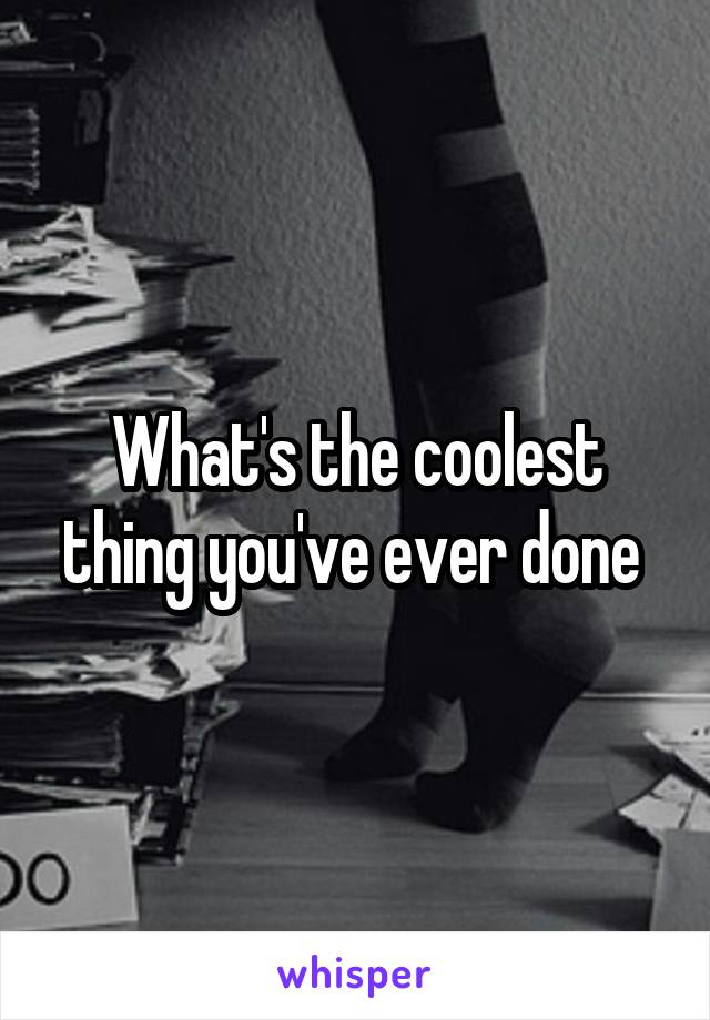 What's the coolest thing you've ever done