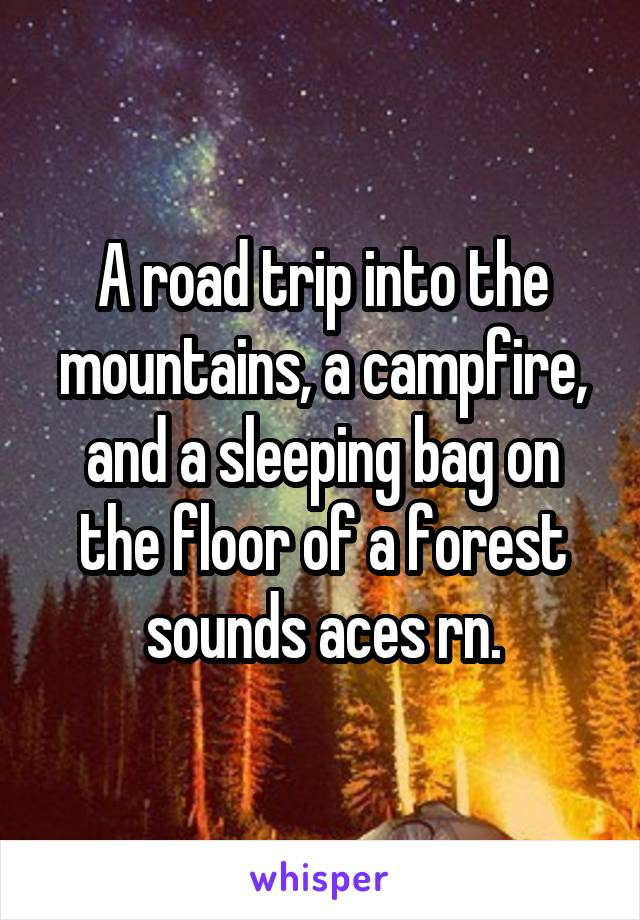 A road trip into the mountains, a campfire, and a sleeping bag on the floor of a forest sounds aces rn.
