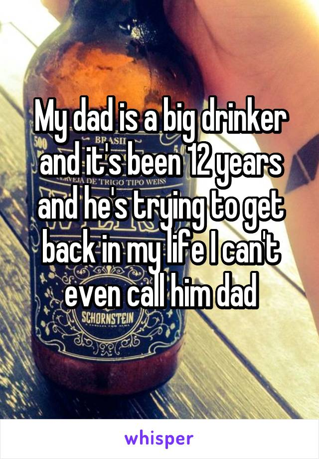 My dad is a big drinker and it's been 12 years and he's trying to get back in my life I can't even call him dad