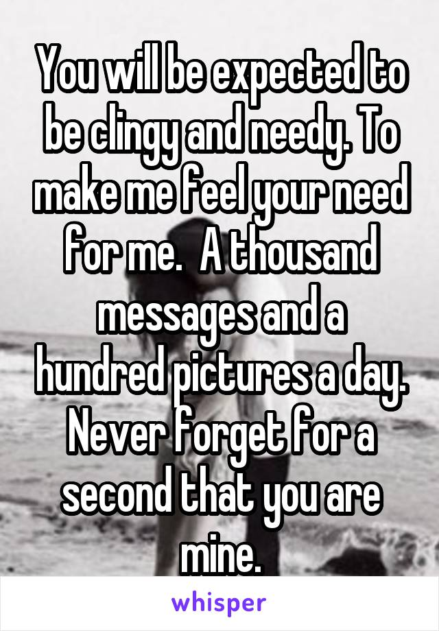 You will be expected to be clingy and needy. To make me feel your need for me.  A thousand messages and a hundred pictures a day. Never forget for a second that you are mine.