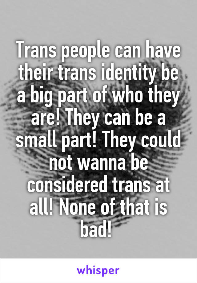 Trans people can have their trans identity be a big part of who they are! They can be a small part! They could not wanna be considered trans at all! None of that is bad!