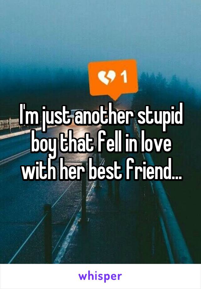 I'm just another stupid boy that fell in love with her best friend...