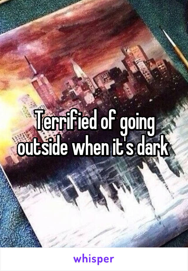 Terrified of going outside when it's dark