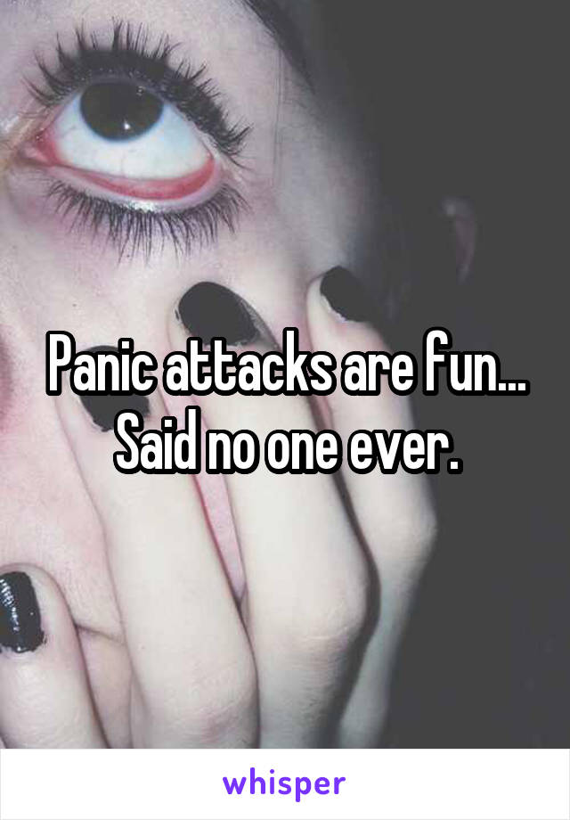 Panic attacks are fun... Said no one ever.