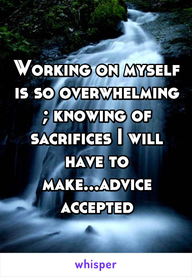 Working on myself is so overwhelming ; knowing of sacrifices I will have to make...advice accepted