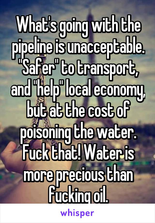 "What's going with the pipeline is unacceptable. ""Safer"" to transport, and ""help"" local economy, but at the cost of poisoning the water. Fuck that! Water is more precious than fucking oil."