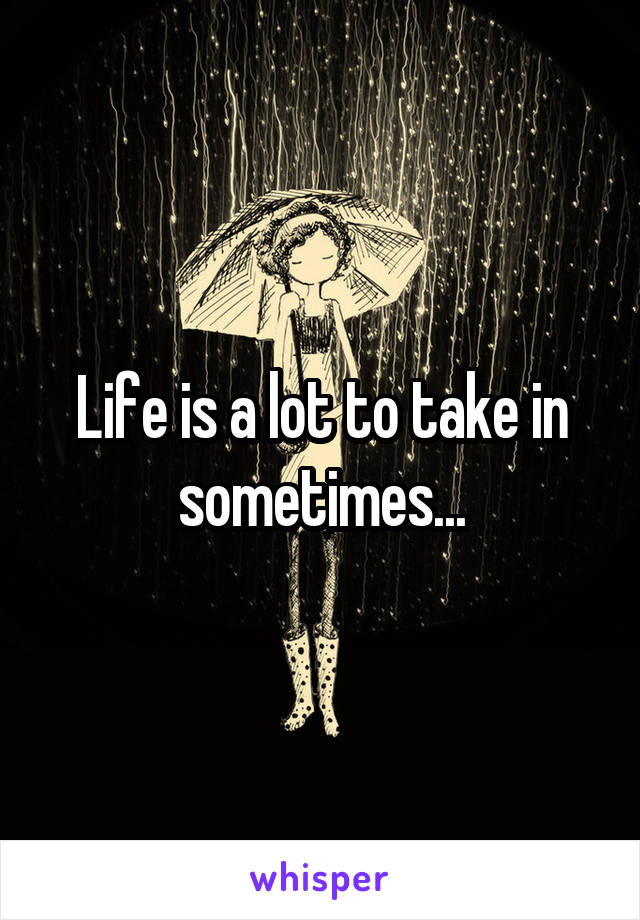 Life is a lot to take in sometimes...