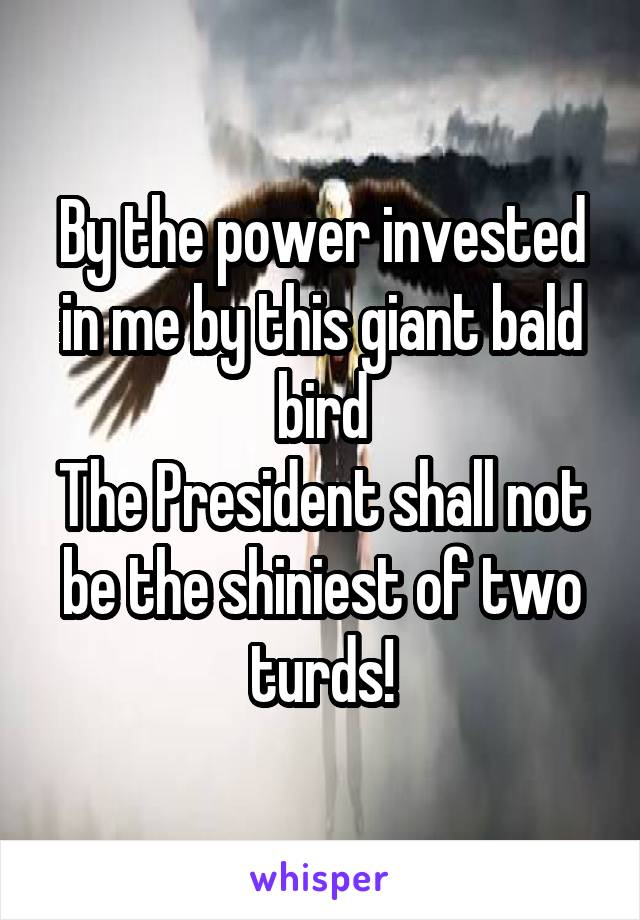 By the power invested in me by this giant bald bird The President shall not be the shiniest of two turds!