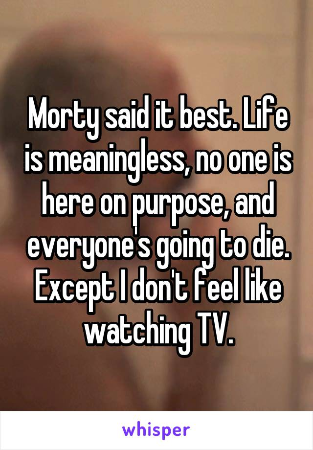Morty said it best. Life is meaningless, no one is here on purpose, and everyone's going to die. Except I don't feel like watching TV.