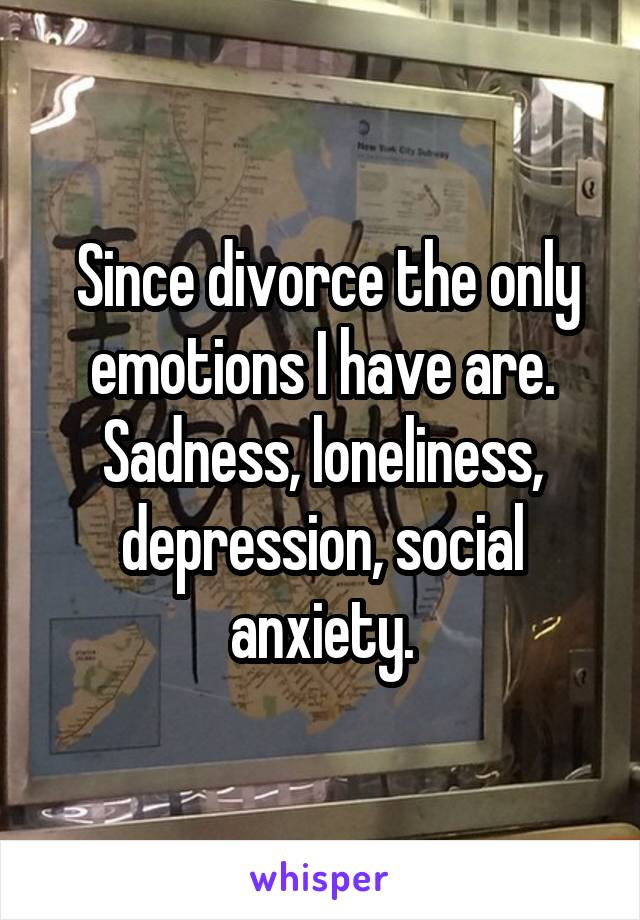 Since divorce the only emotions I have are. Sadness, loneliness, depression, social anxiety.